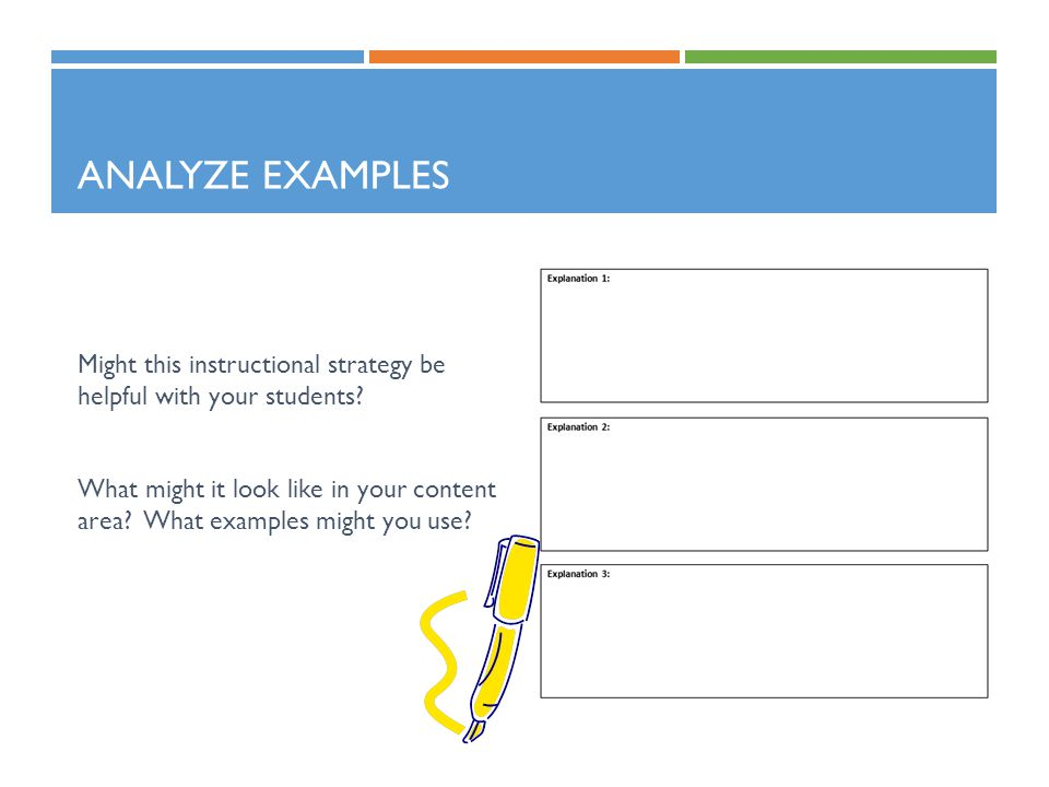 Analyze Examples Might this instructional strategy be helpful with your students