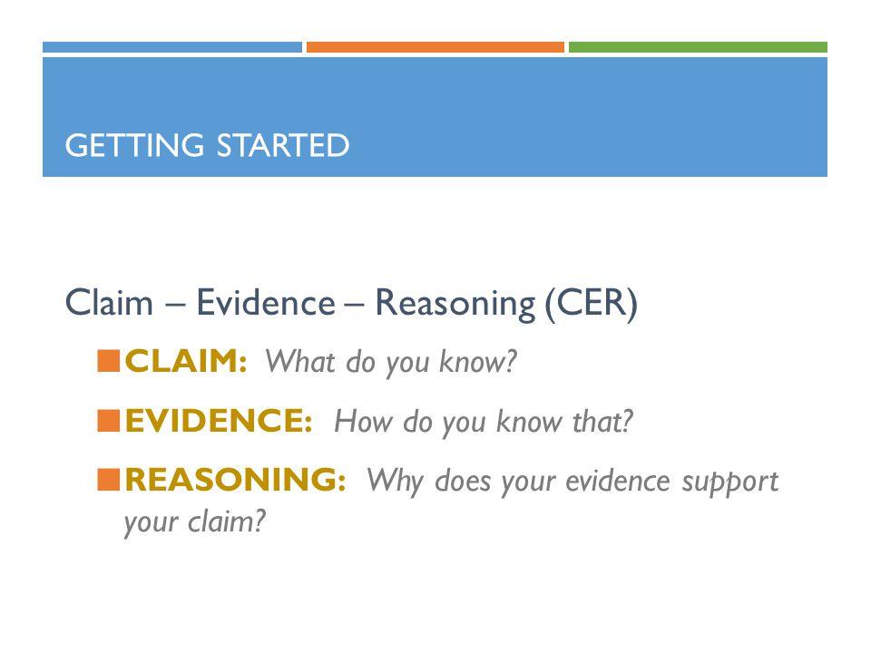 Claim – Evidence – Reasoning (CER)