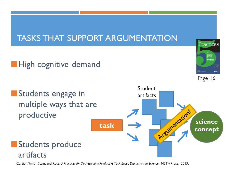 Tasks that support argumentation