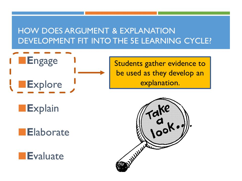 Students gather evidence to be used as they develop an explanation.