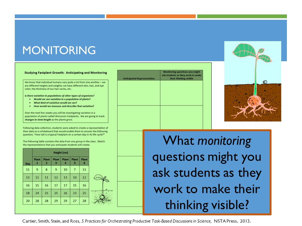 Monitoring What monitoring questions might you ask students as they work to make their thinking visible