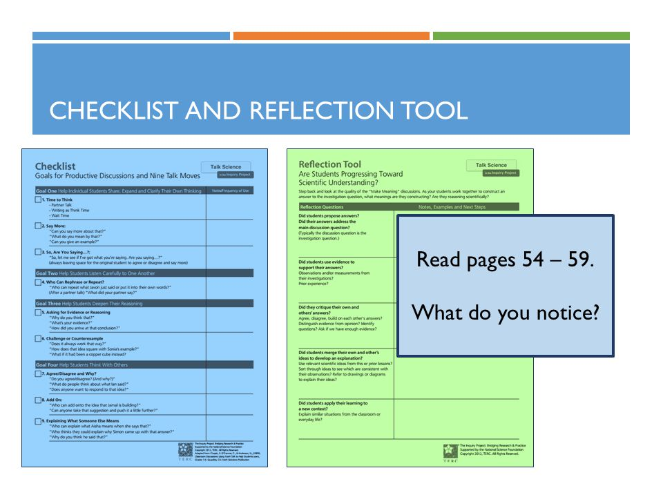 Checklist and Reflection Tool