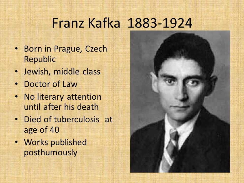 Franz Kafka 1883-1924 Born in Prague, Czech Republic