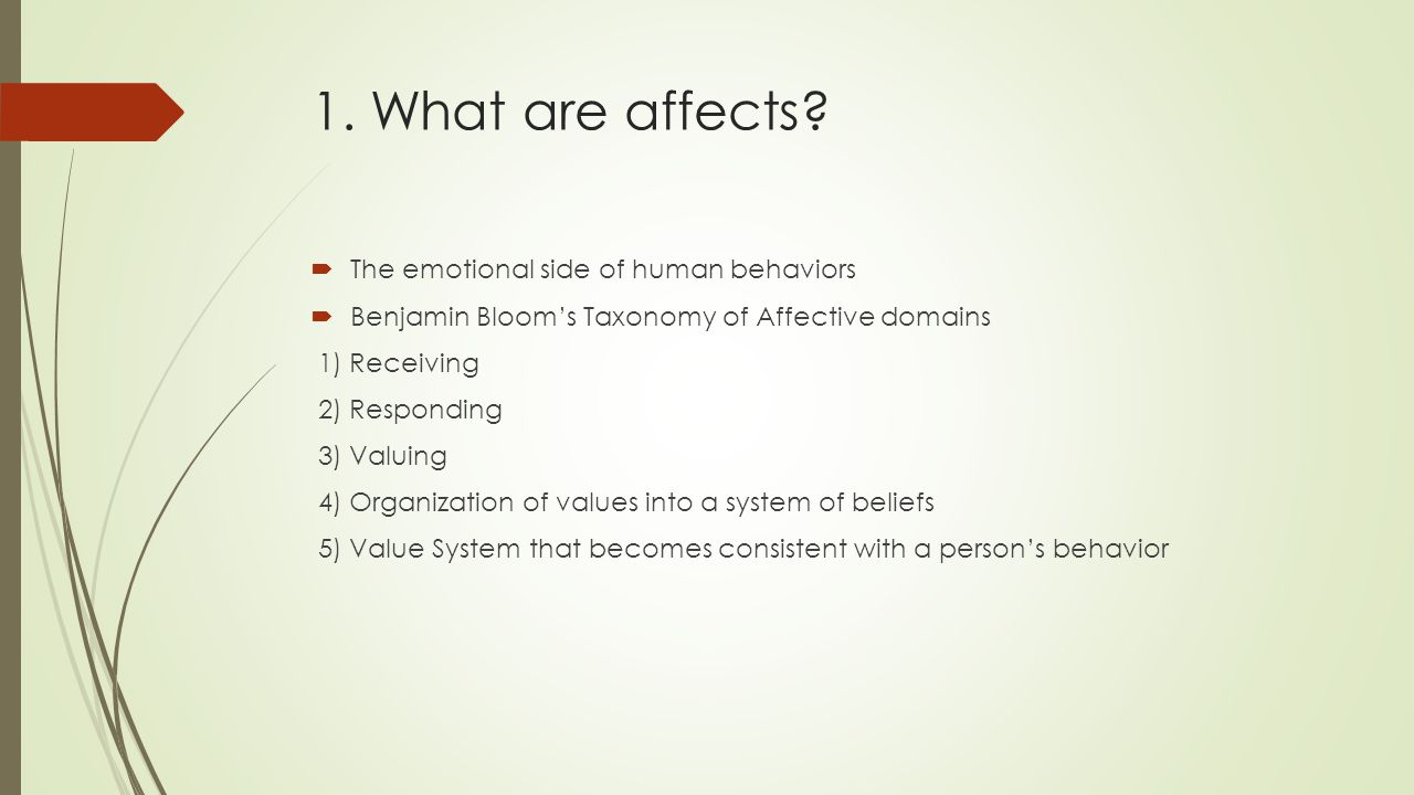 1. What are affects The emotional side of human behaviors