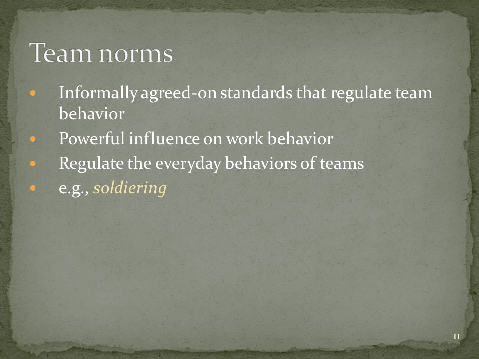 Team norms Informally agreed-on standards that regulate team behavior