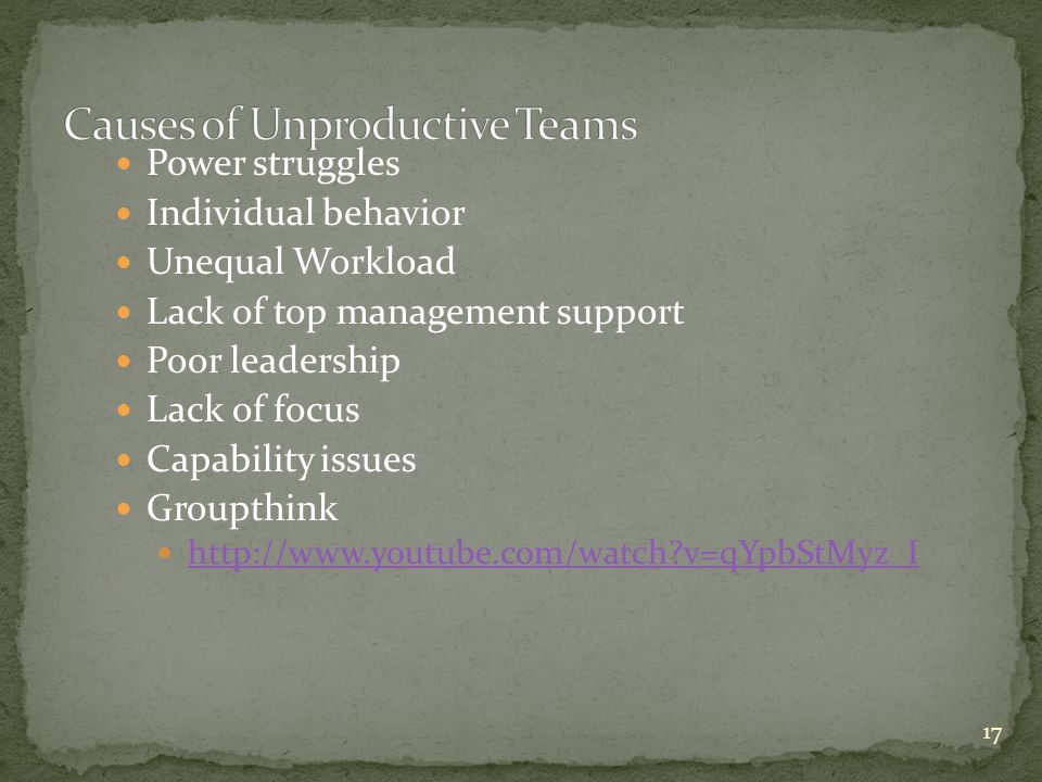 Causes of Unproductive Teams