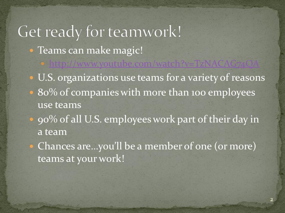 Get ready for teamwork! Teams can make magic!