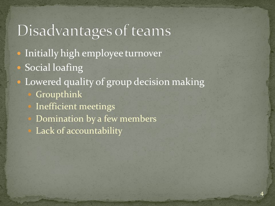 Disadvantages of teams