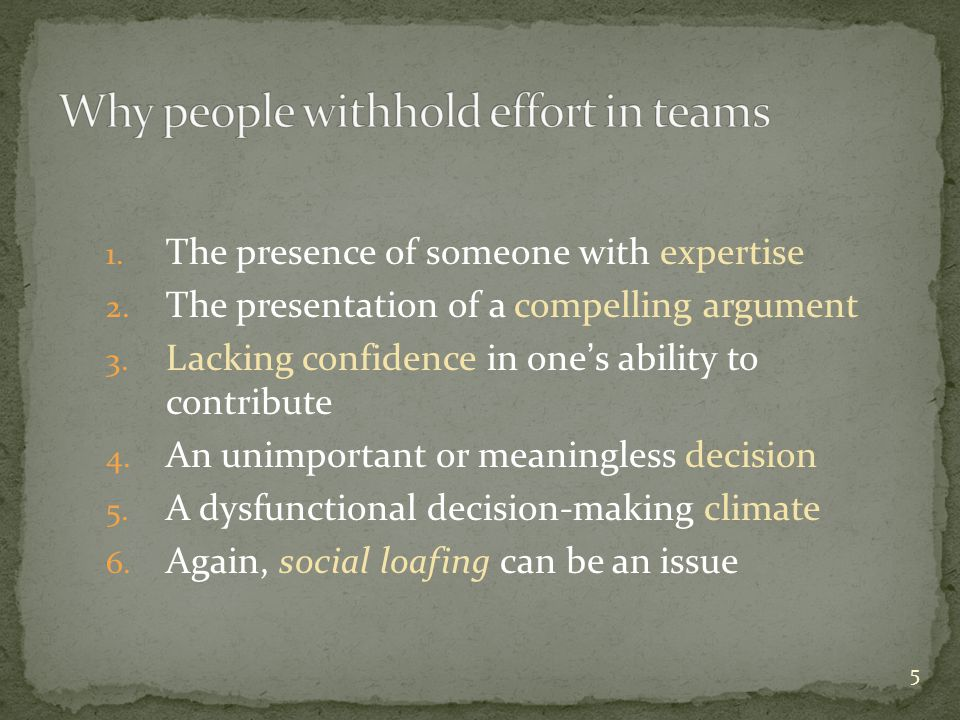 Why people withhold effort in teams