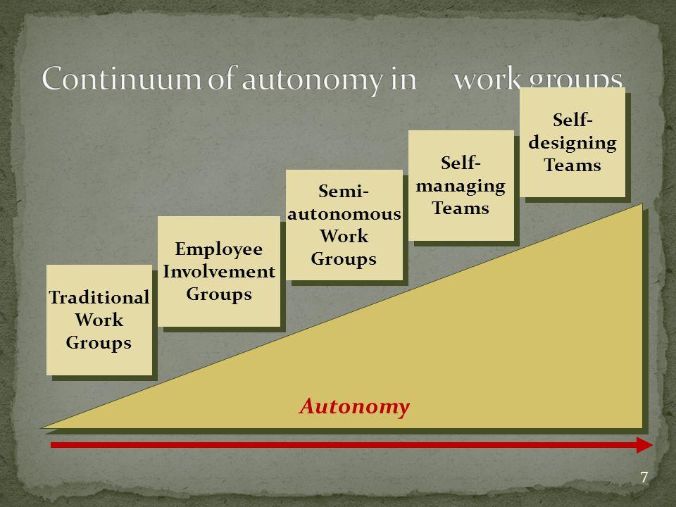 Continuum of autonomy in work groups