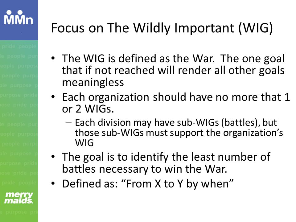 Focus on The Wildly Important (WIG)