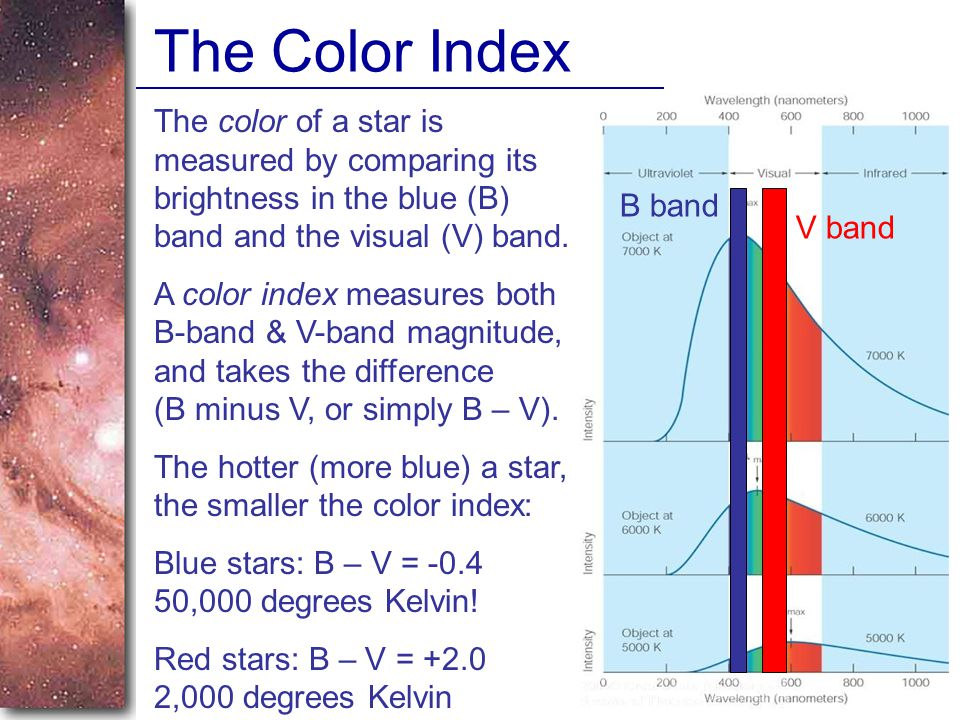 The Color Index The color of a star is measured by comparing its brightness in the blue (B) band and the visual (V) band.