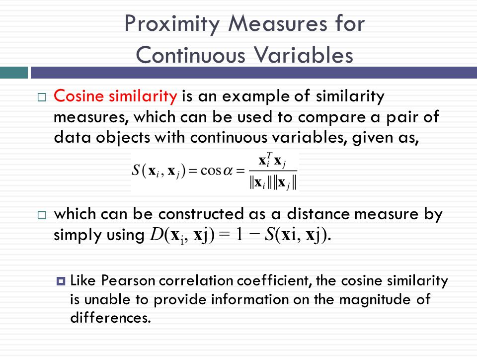 Proximity Measures for Continuous Variables