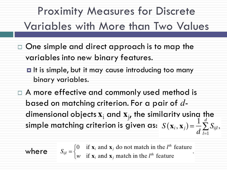 Proximity Measures for Discrete Variables with More than Two Values