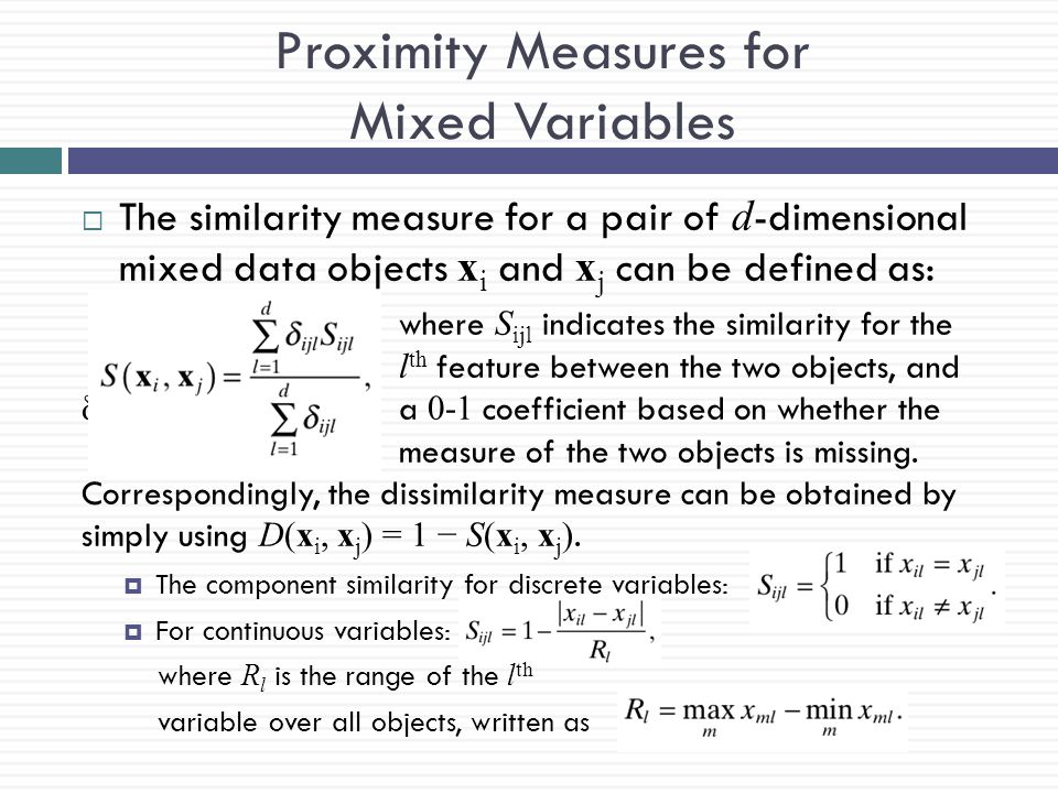 Proximity Measures for Mixed Variables