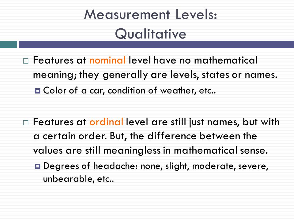 Measurement Levels: Qualitative