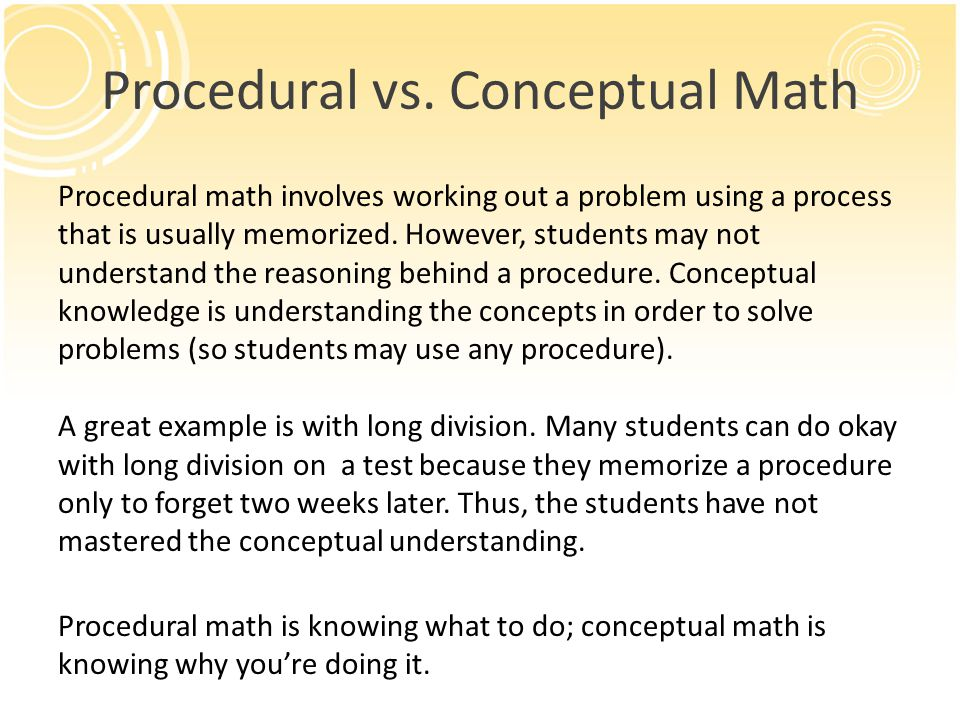 Procedural vs. Conceptual Math