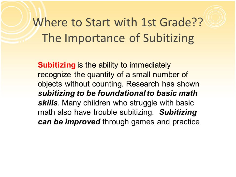 Where to Start with 1st Grade The Importance of Subitizing