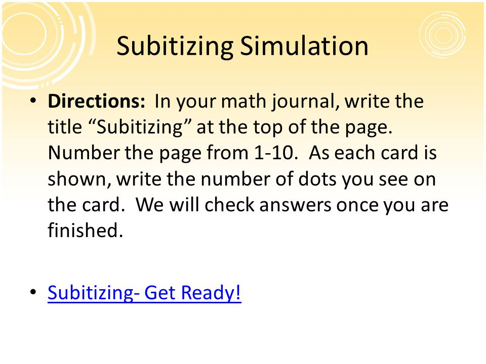 Subitizing Simulation