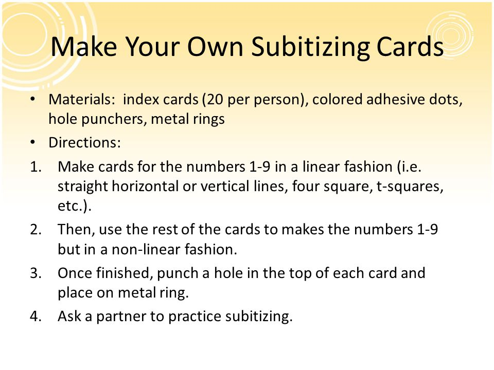 Make Your Own Subitizing Cards