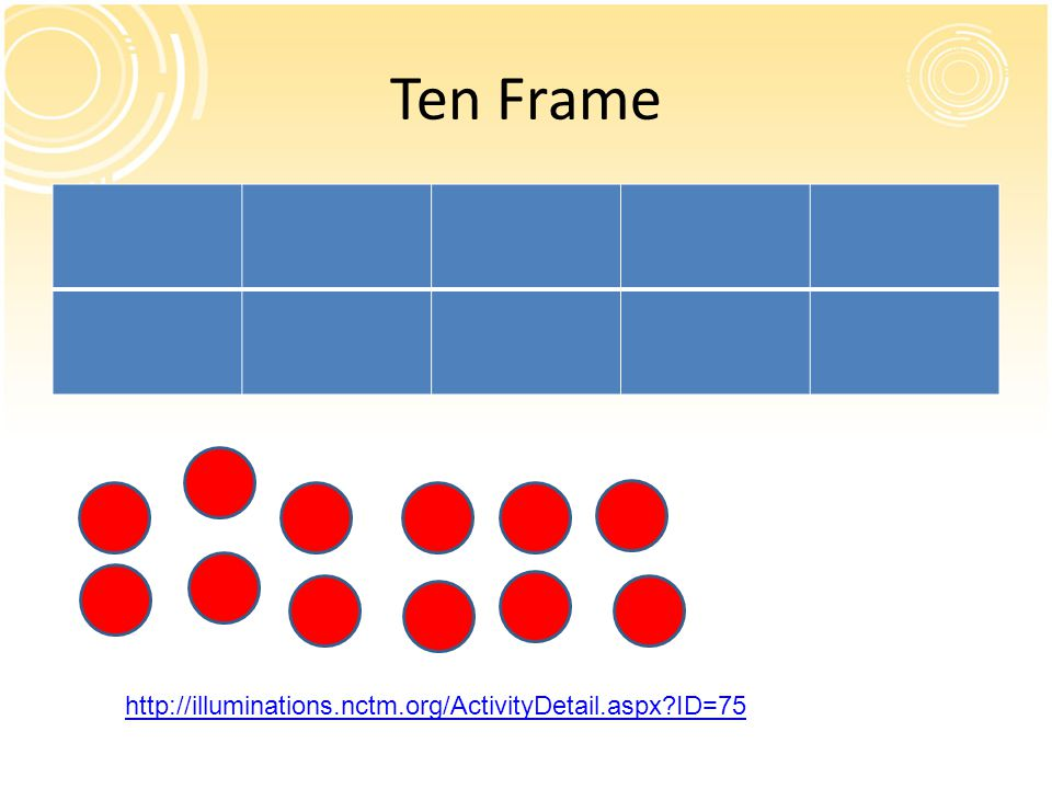 Ten Frame http://illuminations.nctm.org/ActivityDetail.aspx ID=75