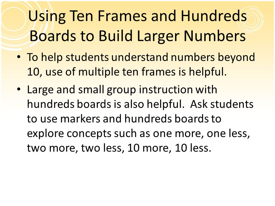 Using Ten Frames and Hundreds Boards to Build Larger Numbers