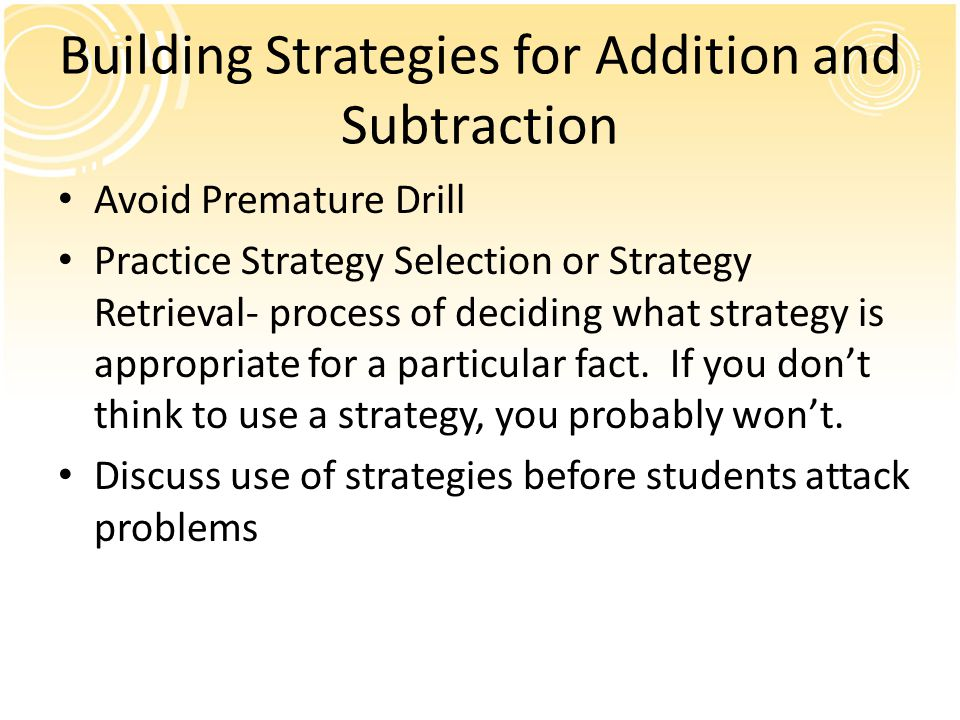 Building Strategies for Addition and Subtraction