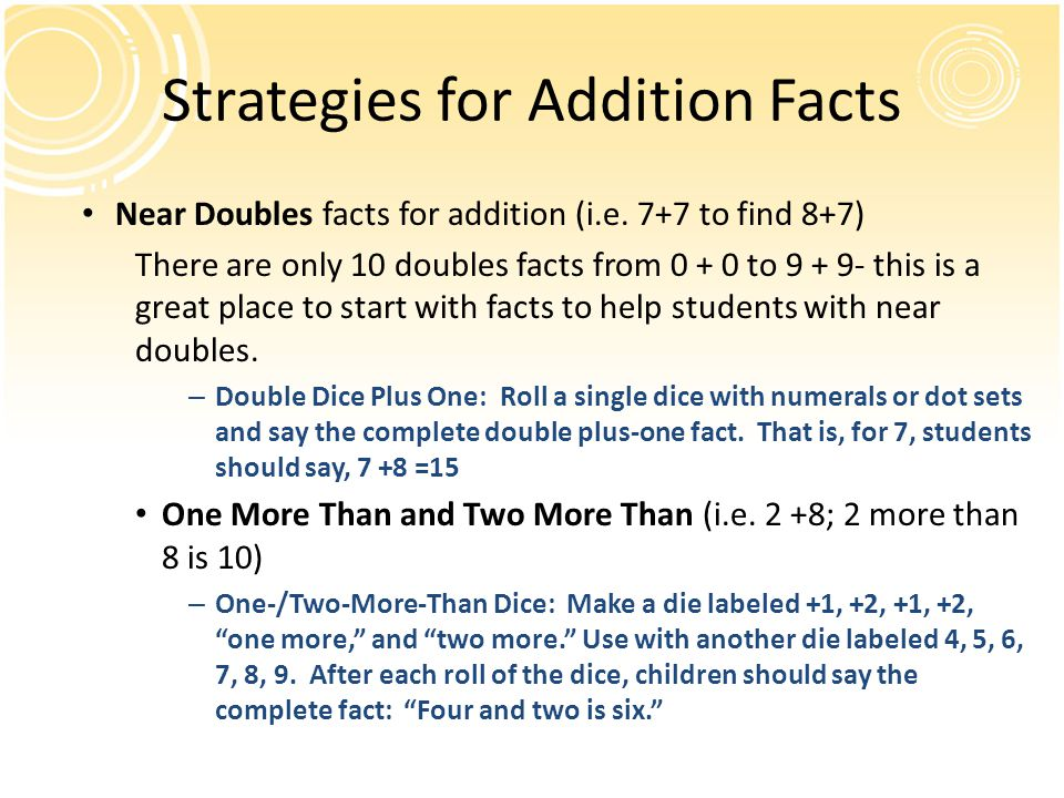 Strategies for Addition Facts