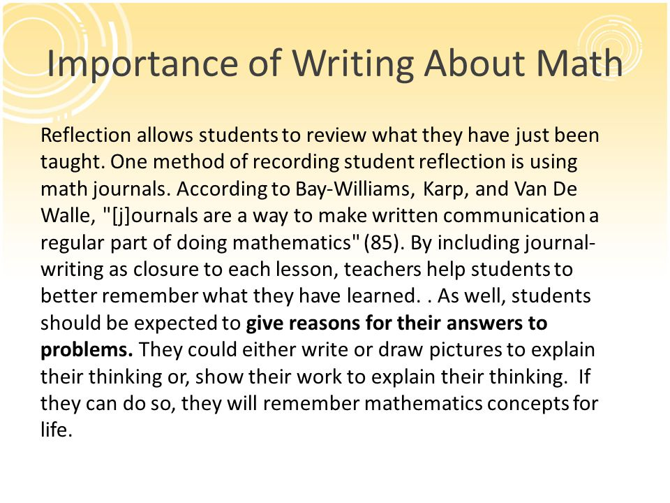 Importance of Writing About Math