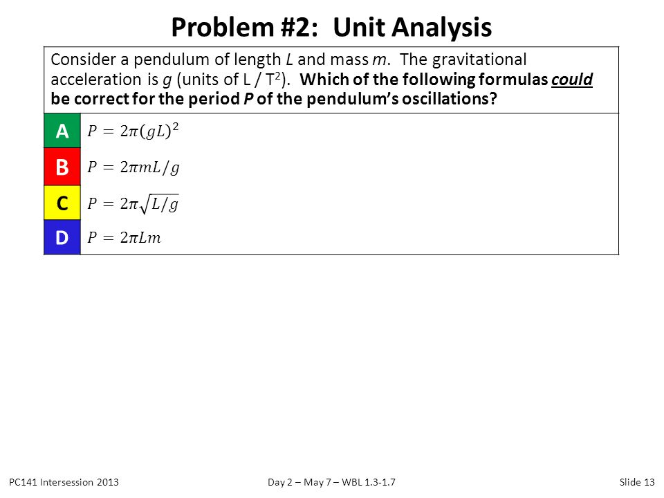 Problem #2: Unit Analysis