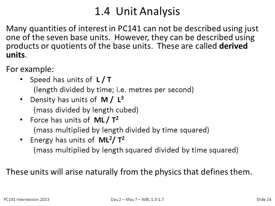 1.4 Unit Analysis