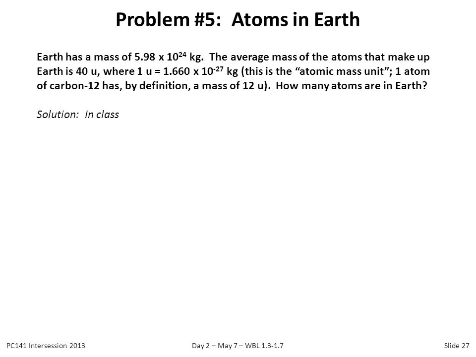 Problem #5: Atoms in Earth