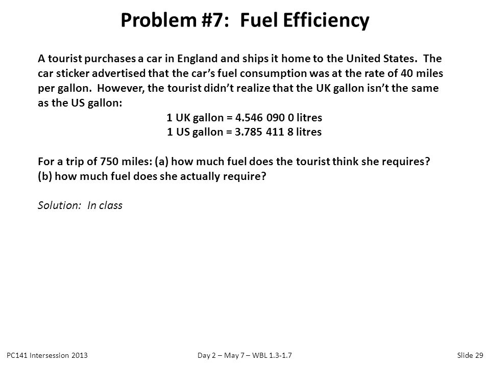 Problem #7: Fuel Efficiency