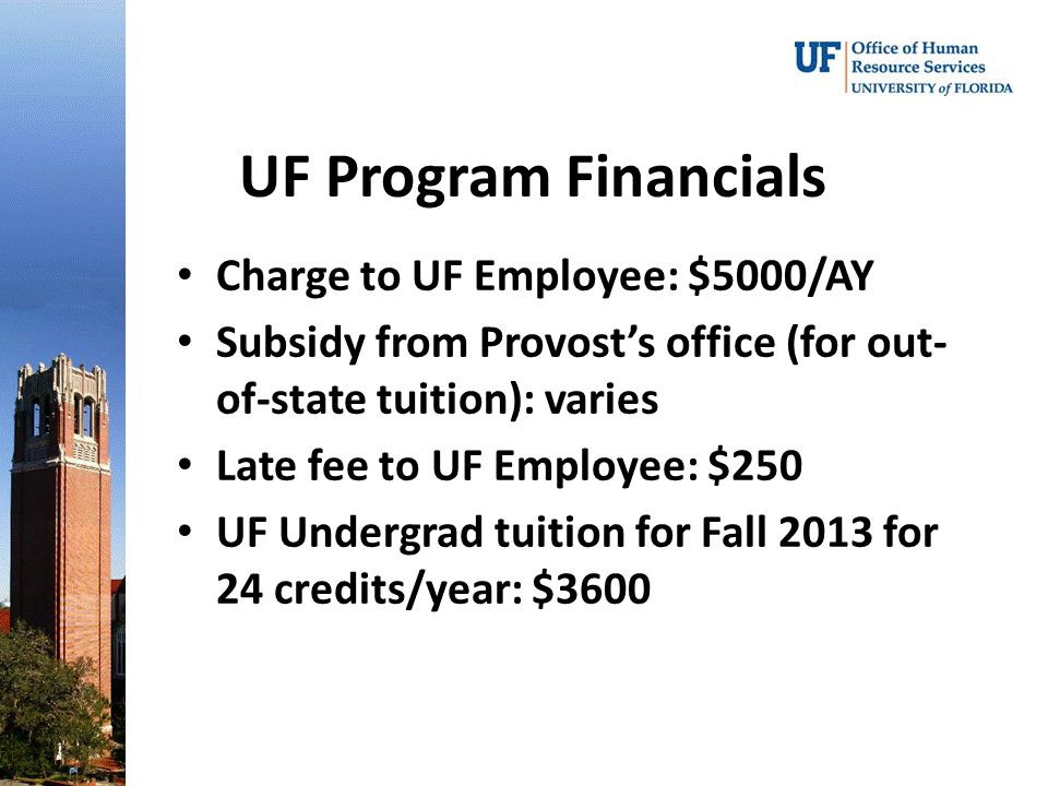 UF Program Financials Charge to UF Employee: $5000/AY