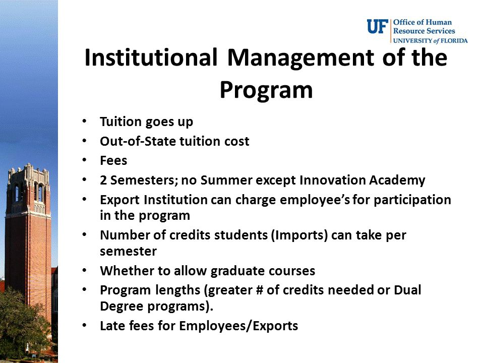 Institutional Management of the Program