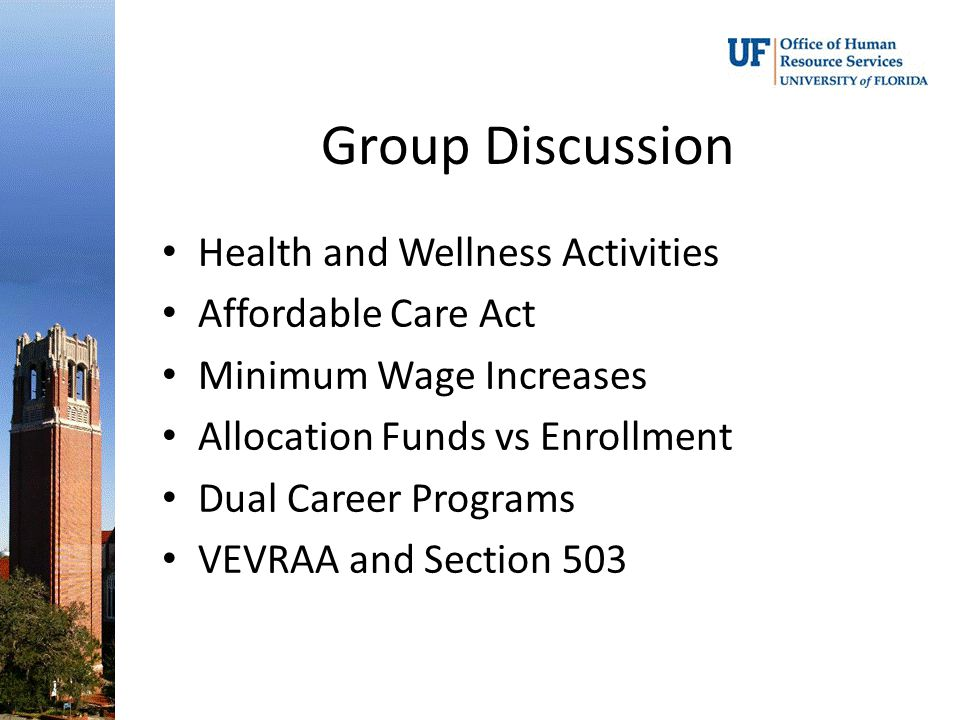 Group Discussion Health and Wellness Activities Affordable Care Act