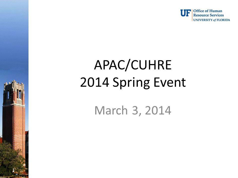 APAC/CUHRE 2014 Spring Event