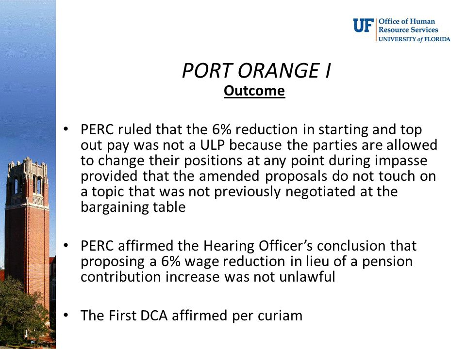 PORT ORANGE I Outcome.