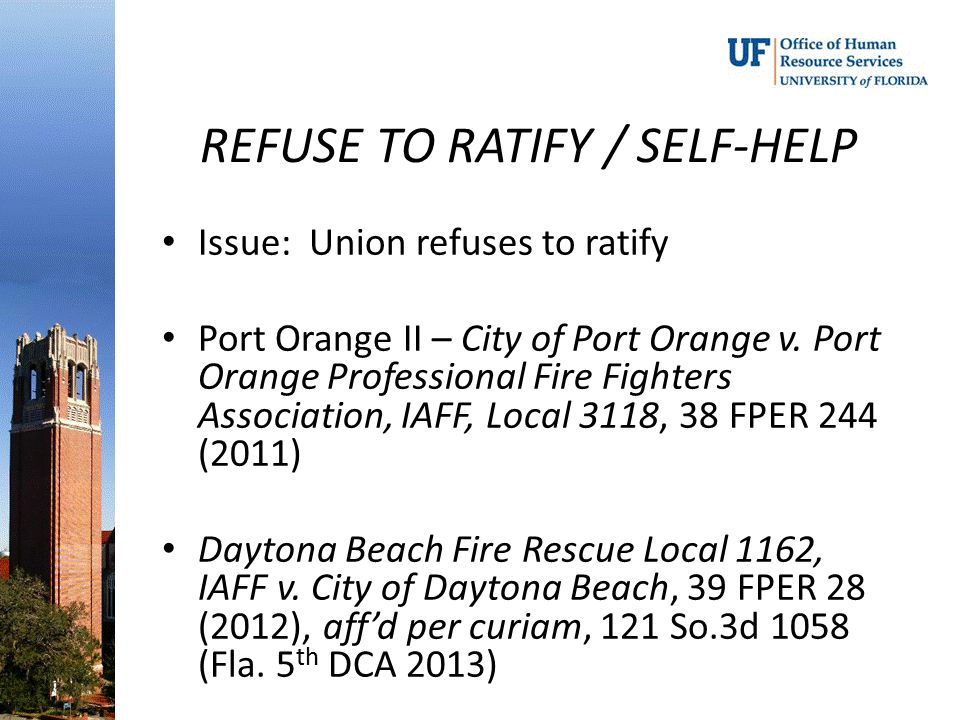 REFUSE TO RATIFY / SELF-HELP