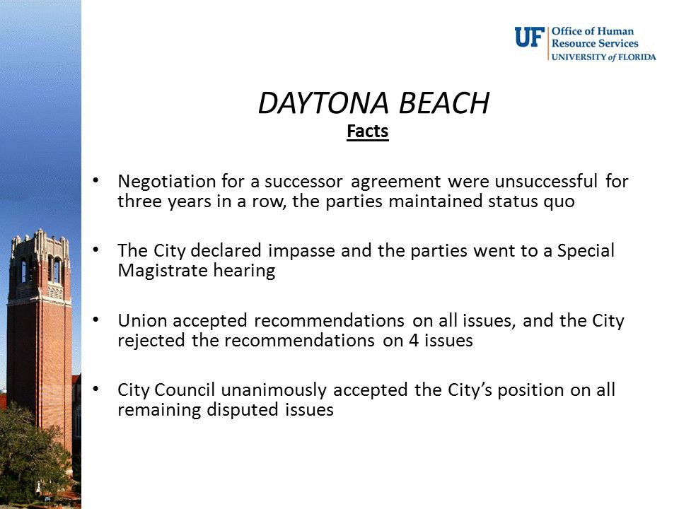 DAYTONA BEACH Facts. Negotiation for a successor agreement were unsuccessful for three years in a row, the parties maintained status quo.