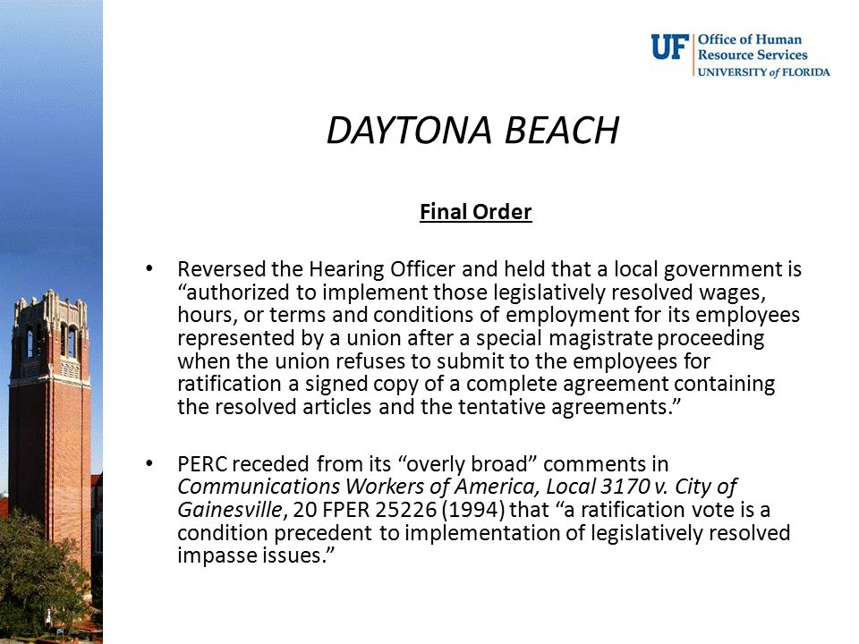 DAYTONA BEACH Final Order