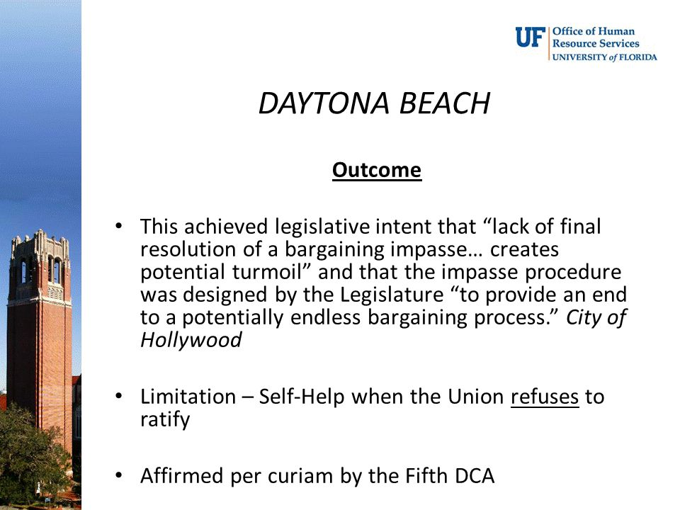 DAYTONA BEACH Outcome.