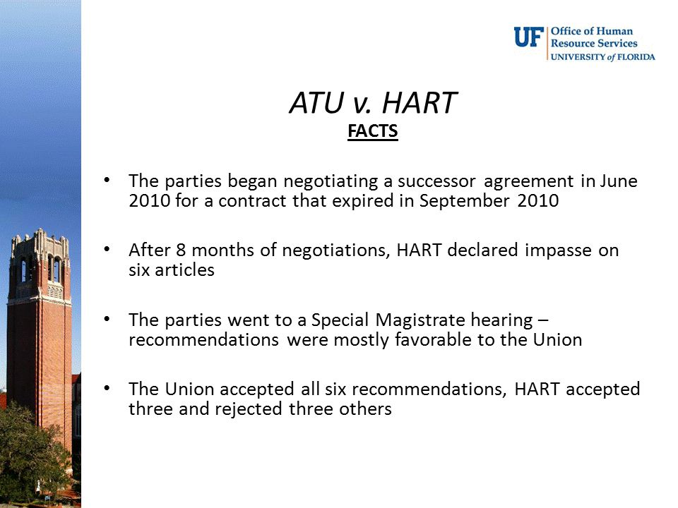 ATU v. HART FACTS. The parties began negotiating a successor agreement in June 2010 for a contract that expired in September 2010.