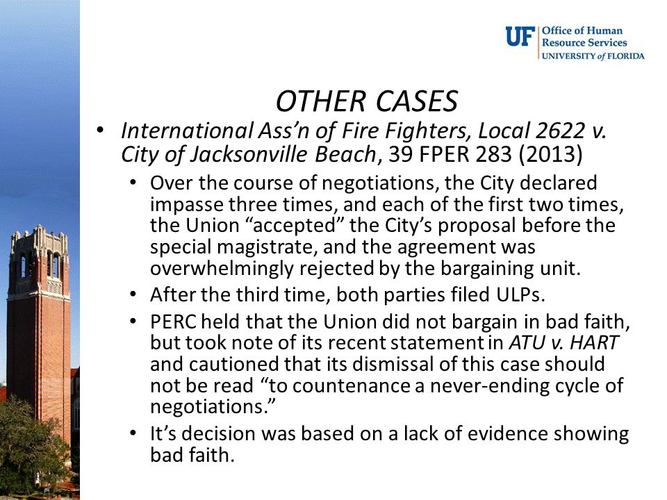 OTHER CASES International Ass'n of Fire Fighters, Local 2622 v. City of Jacksonville Beach, 39 FPER 283 (2013)
