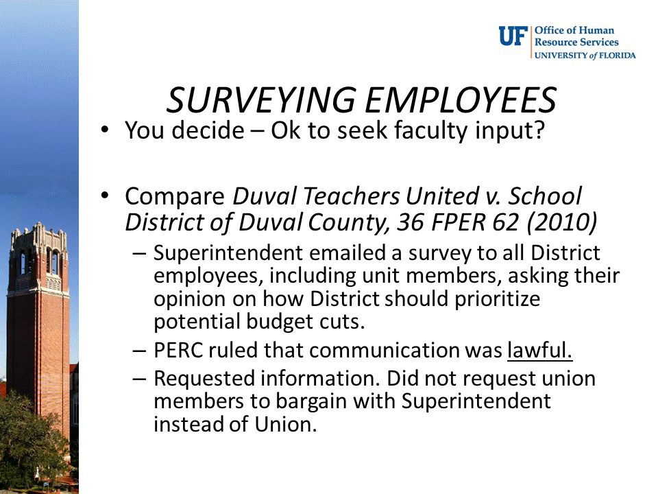 SURVEYING EMPLOYEES You decide – Ok to seek faculty input