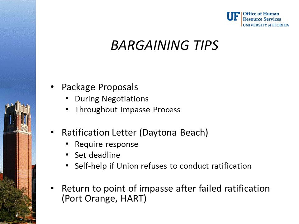 BARGAINING TIPS Package Proposals Ratification Letter (Daytona Beach)