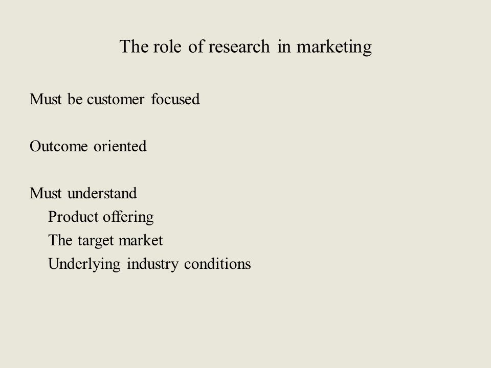 The role of research in marketing