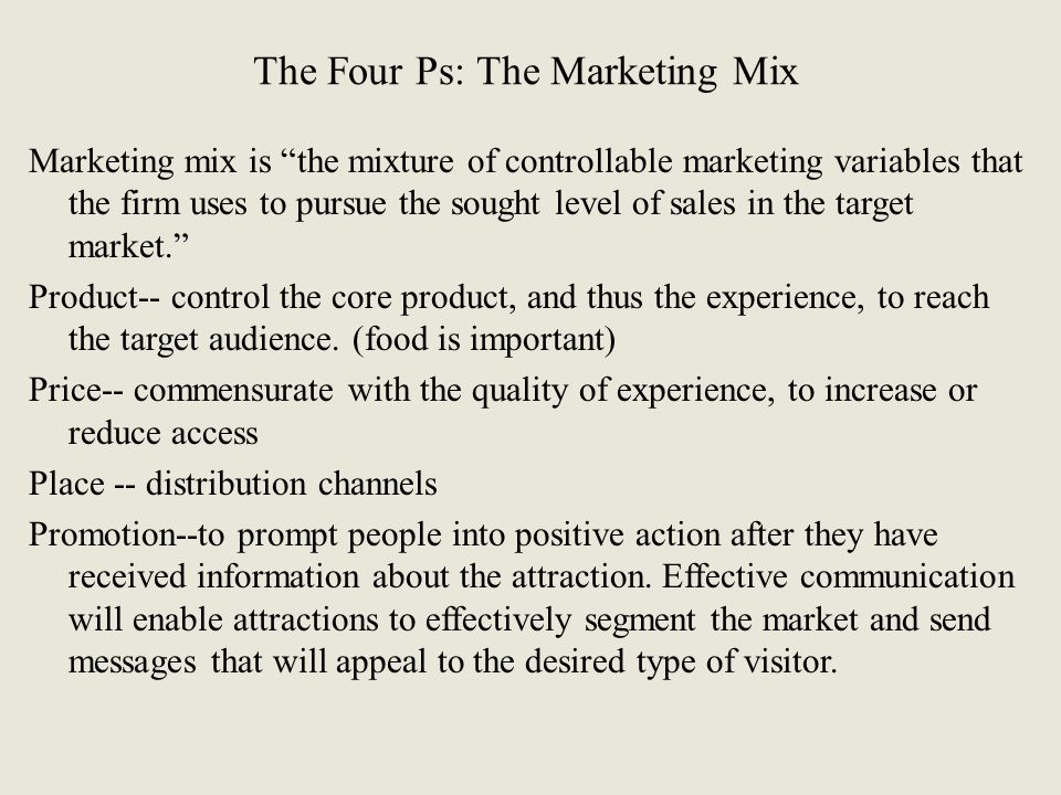 The Four Ps: The Marketing Mix