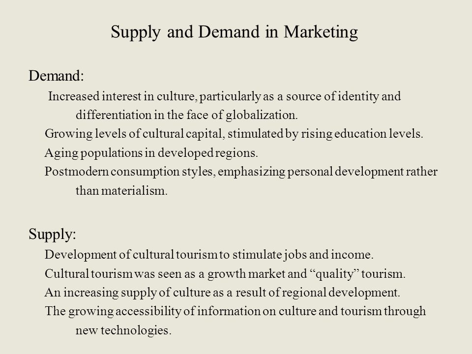 Supply and Demand in Marketing