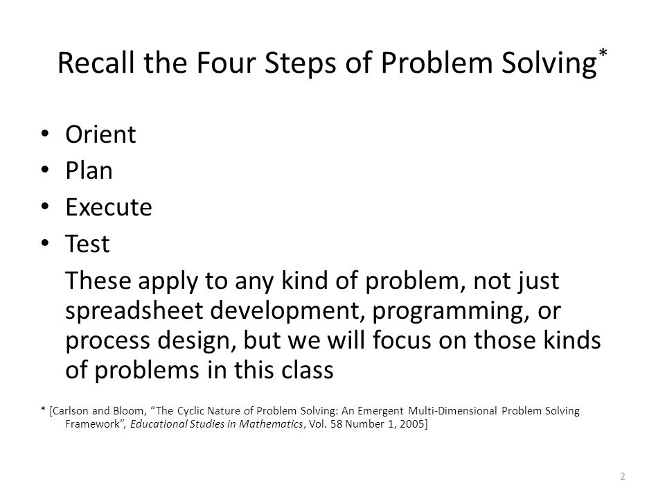 Recall the Four Steps of Problem Solving*